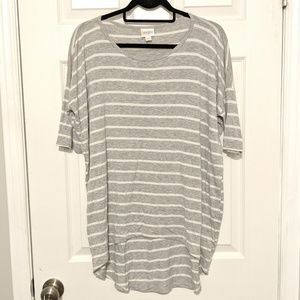LuLaRoe Irma Small Gray & White Striped Staple